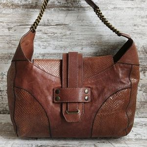 Theory Brown Leather Chain Hobo Shoulder Bag
